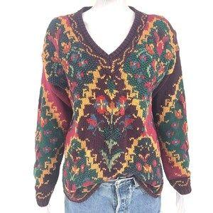 Vtg 80's Floral Intarsia Sweater Sz S Hong Kong